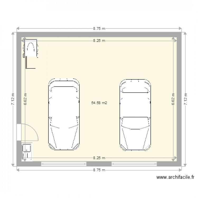 Garage double plan 1 pi ce 55 m2 dessin par david for Plan d un garage double