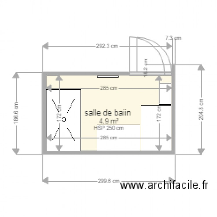 salle de bain plan 1 pi ce 5 m2 dessin par nours54. Black Bedroom Furniture Sets. Home Design Ideas