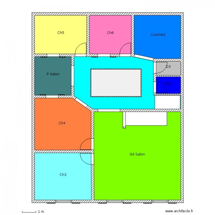 1er maison avec patio plan 11 pi ces 140 m2 dessin par koffo - Consommation electrique moyenne maison 140 m2 ...