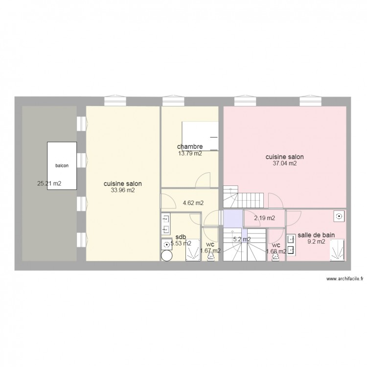 Plan de maison 60m2 plan de la surlvation de merville for Plan maison 60m2