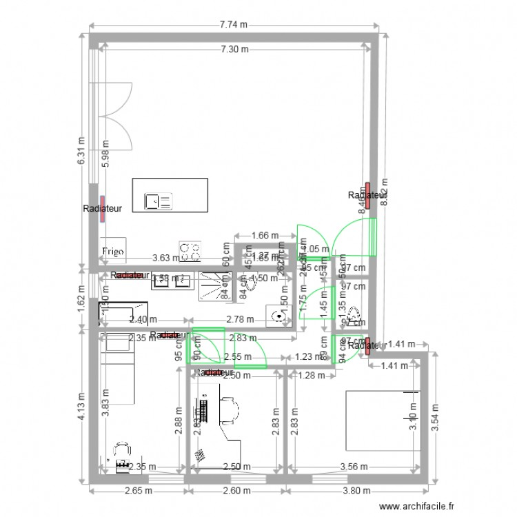 b 1 1 sch ma lectrique plan 3 pi ces 24 m2 dessin par. Black Bedroom Furniture Sets. Home Design Ideas