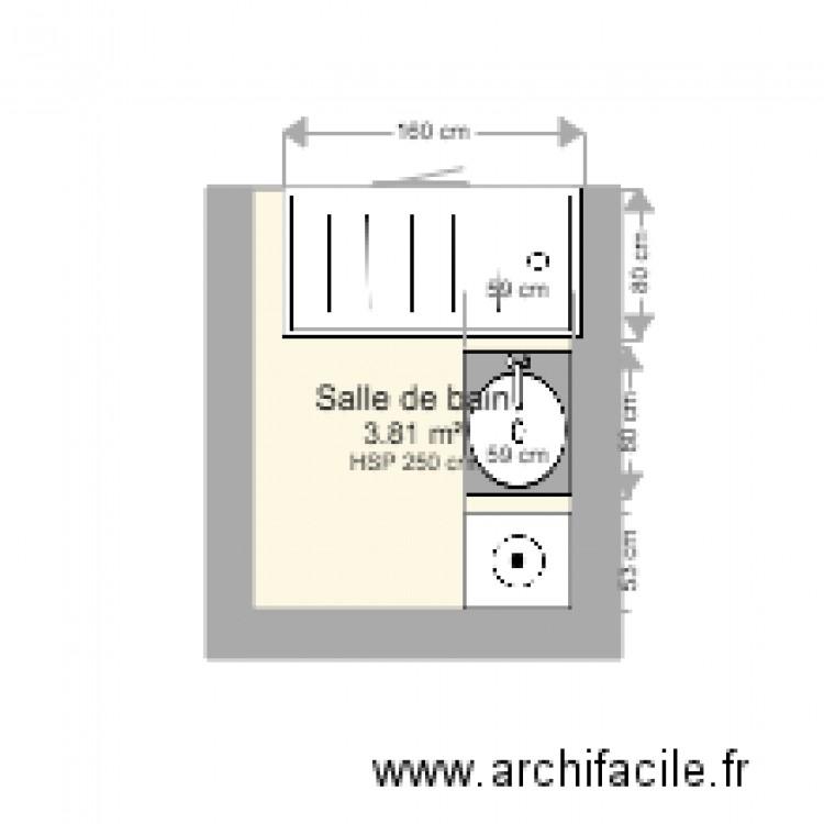 Salle de bain maz plan 1 pi ce 4 m2 dessin par zmichel for Salle de bain 4 m2