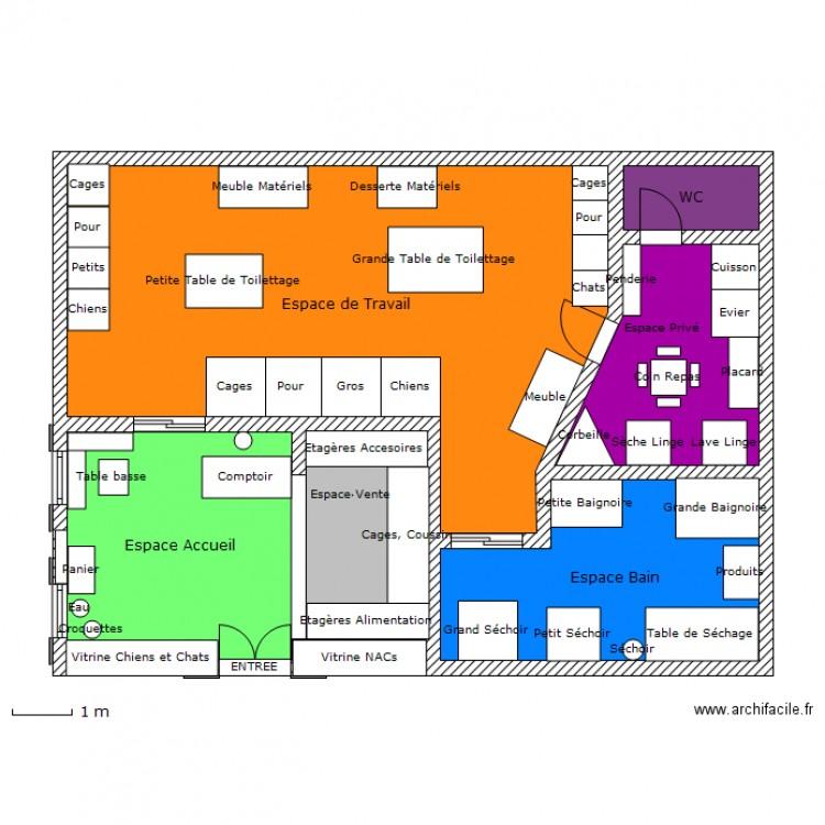 Salon de toilettage plan 6 pi ces 90 m2 dessin par pricynthia - Salon toilettage a vendre ...