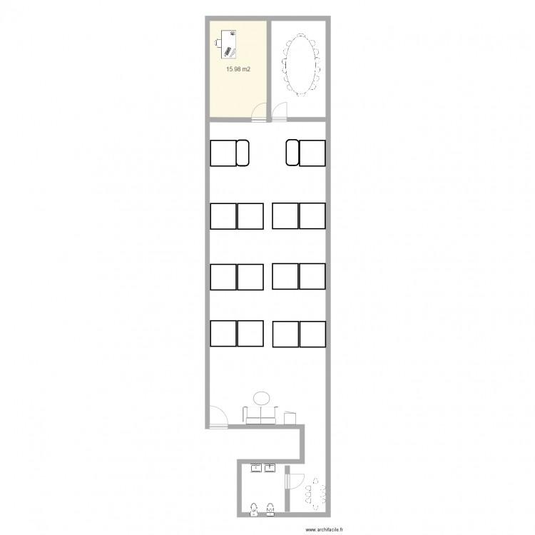 Bureau myt3 plan 1 pi ce 16 m2 dessin par raphaelamzallag for Nombre de m2 par personne bureau