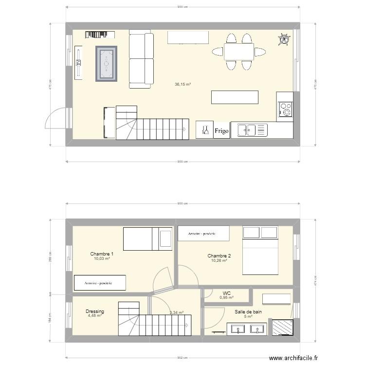 Maison 80 m2 1 tage plan 7 pi ces 78 m2 dessin par for Plan maison 80 m2