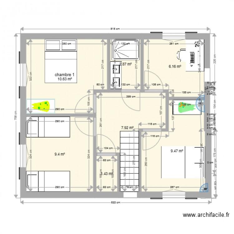 Plan 1er tage avec 3 chambres et un bureau plan 10 pi ces 168 m2 dessin par ifallecker for Plan maison 3 chambres et un bureau