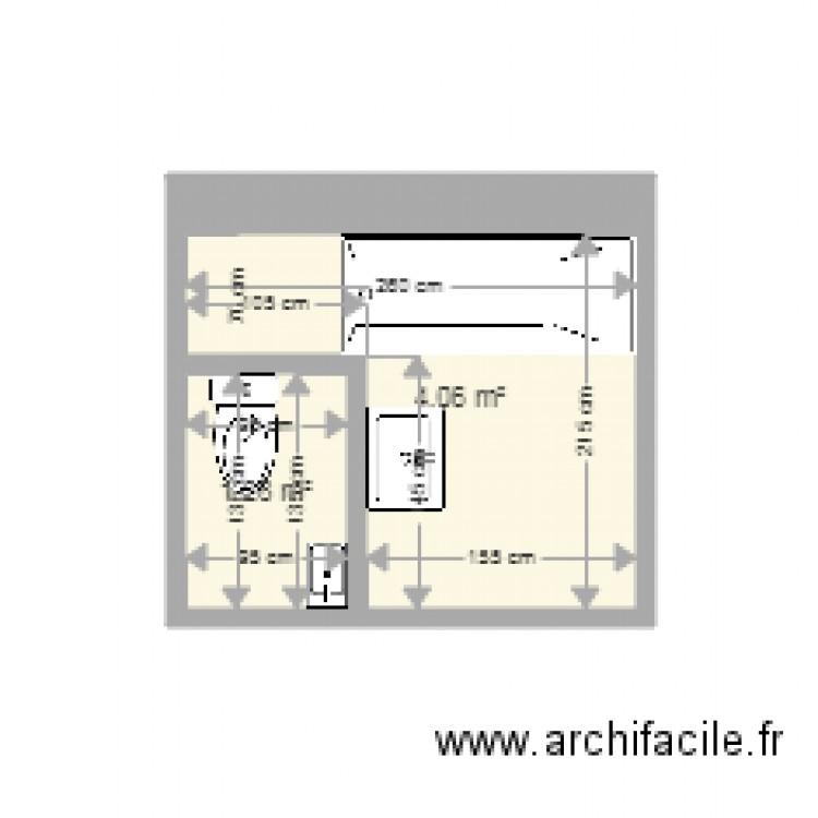 Salle de bain plan 2 pi ces 5 m2 dessin par douangchampa for Salle de bain 7 5 m2