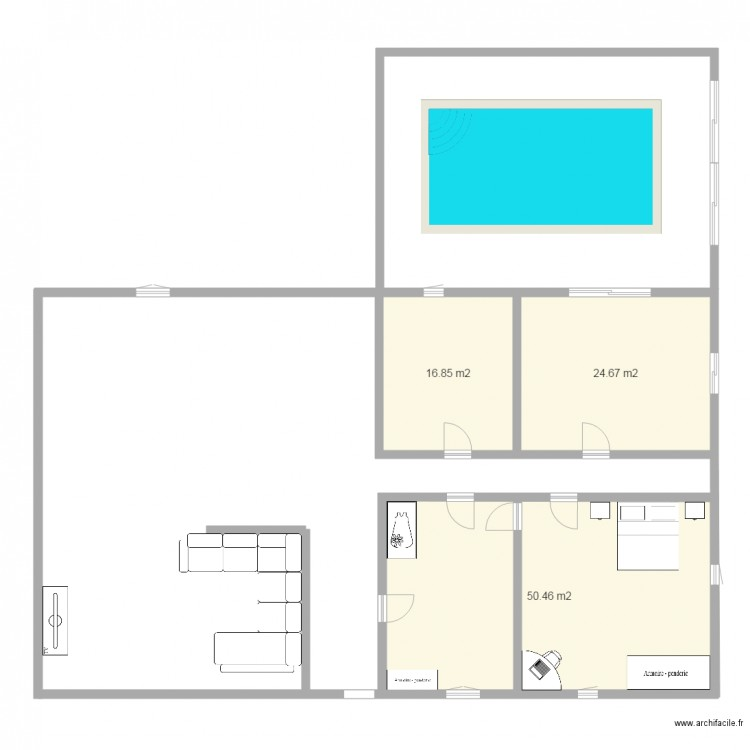 Plan maison plan 3 pi ces 92 m2 dessin par aliciajoris for Dessine mes plans de maison