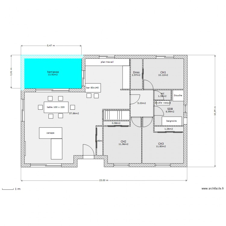 maison fabrice caballud 15 x 10m terrasse ouverte plan 13 pi ces 128 m2 dessin par hjgalleyrand. Black Bedroom Furniture Sets. Home Design Ideas