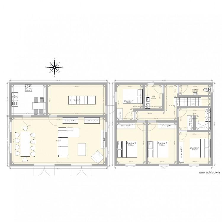 maison id ale plan 10 pi ces 118 m2 dessin par cyril20 2. Black Bedroom Furniture Sets. Home Design Ideas