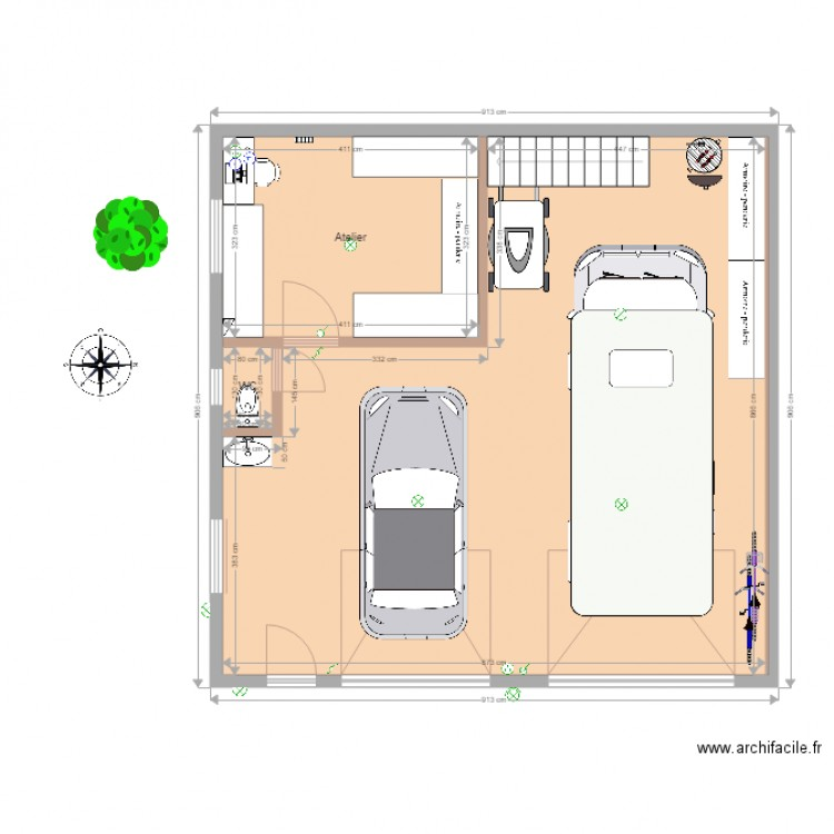 garage op2 am nag plan 4 pi ces 87 m2 dessin par ollive. Black Bedroom Furniture Sets. Home Design Ideas
