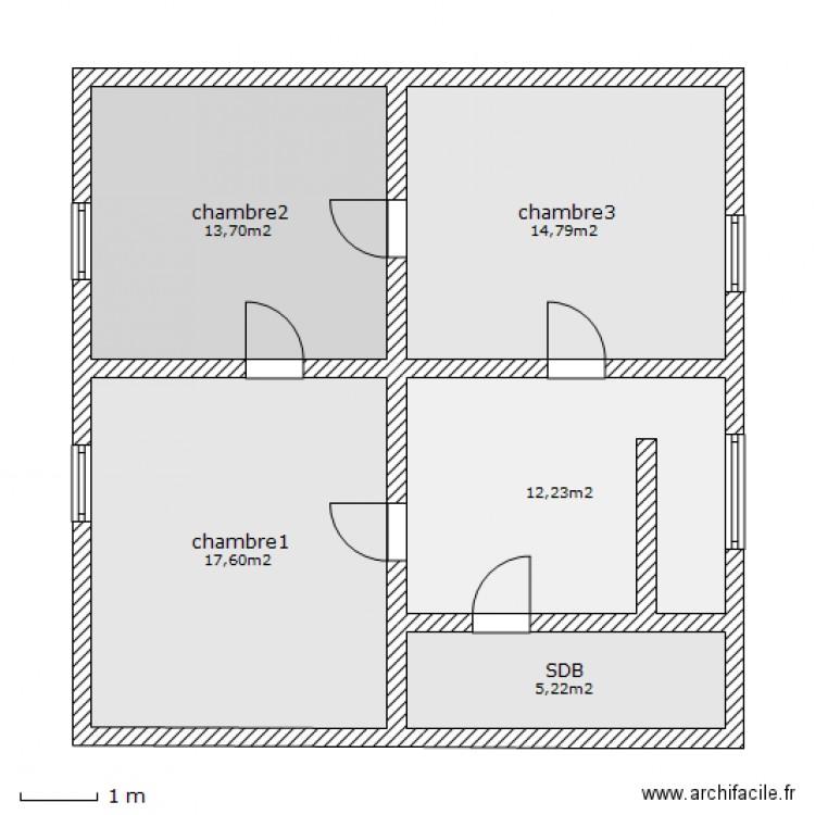 plan maison 64m2