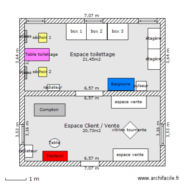 Plan salon toilettage plan 2 pi ces 42 m2 dessin par vanessa lunardi - Salon toilettage a vendre ...