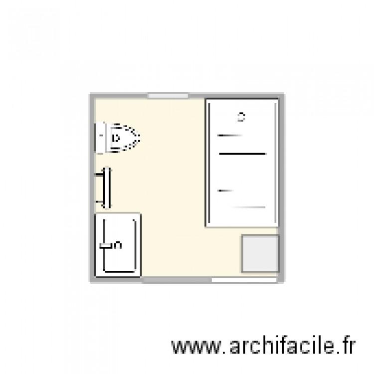 Salle de bain plan 1 pi ce 4 m2 dessin par mjfocal for Salle de bain 4 m2