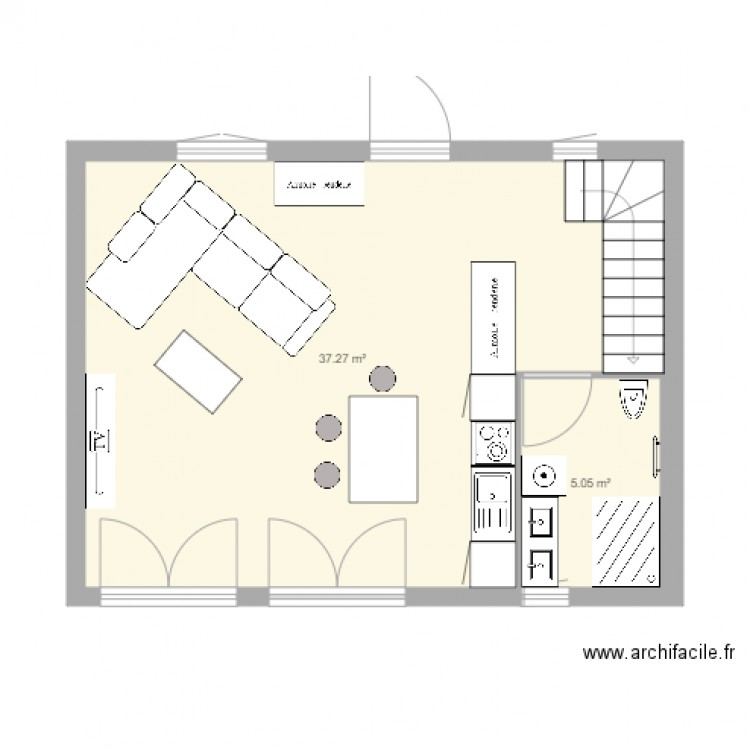 Cr ation plan rdc maison 48 m2 shon plan 2 pi ces 42 m2 for Creation plan maison
