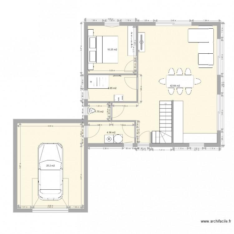 Connu PLAN MAISON ETAGE RDC - Plan 6 pièces 90 m2 dessiné par crole69 QJ79
