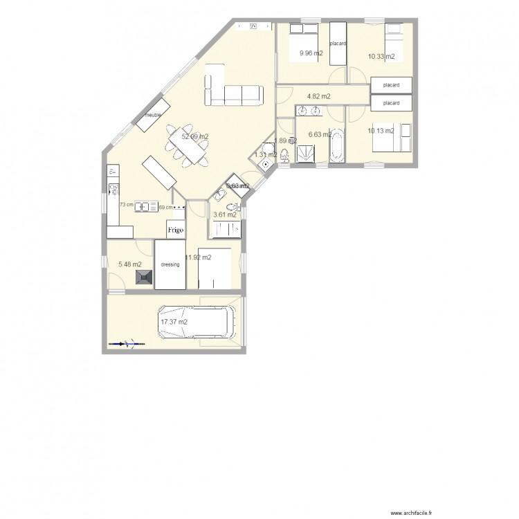 maison plein pied u 3 chambres 1 bureau plan de 13 pices et 137 m2 - Plan Maison Plain Pied 3 Chambres 1 Bureau