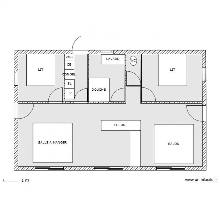 Plan 80m2 plan 5 pi ces 81 m2 dessin par cau14 for Amenagement petit jardin 80m2