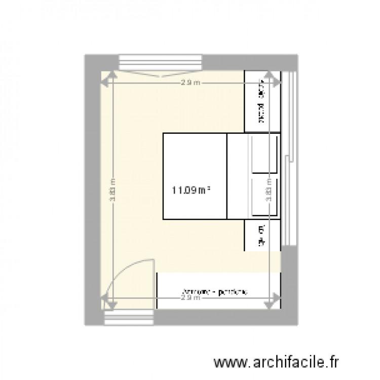 Chambre parentale lyon plan 1 pi ce 11 m2 dessin par for Taille chambre parentale