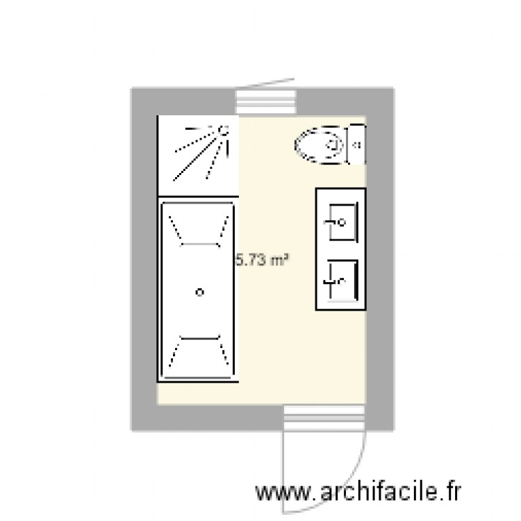 salle de bain plan 1 pi ce 6 m2 dessin par franwernli. Black Bedroom Furniture Sets. Home Design Ideas