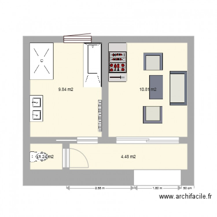 Salle de bain plan 4 pi ces 26 m2 dessin par for Salle de bain 4 m2