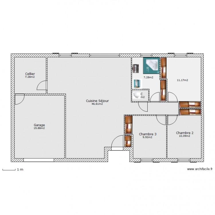 plan clair logis 2 plan 8 pi ces 113 m2 dessin par pascalkarine. Black Bedroom Furniture Sets. Home Design Ideas