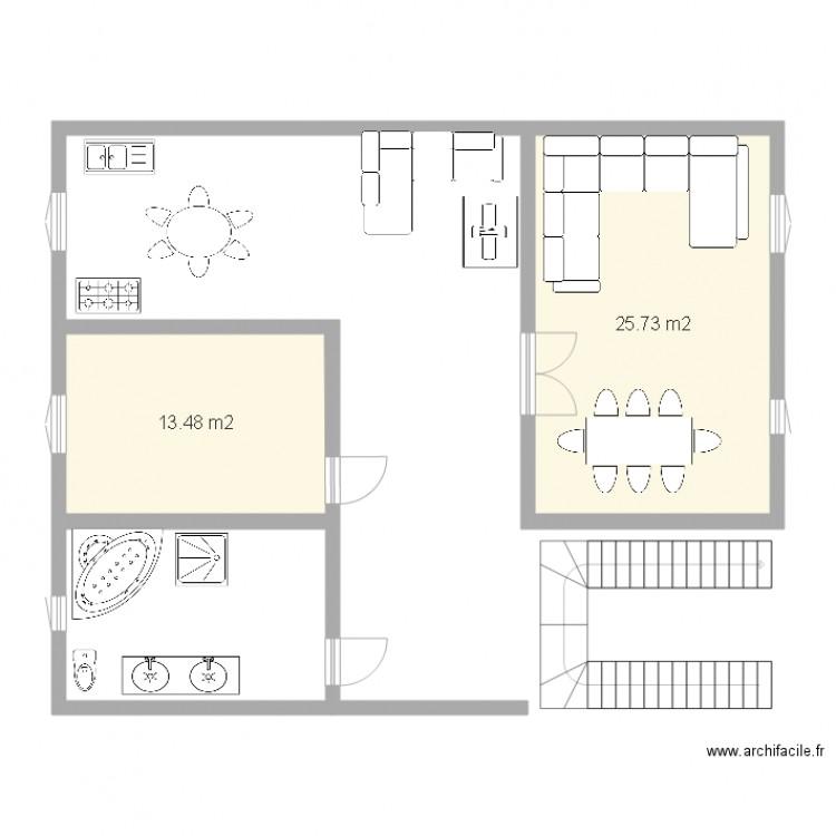 Plan maison 2 plan 2 pi ces 39 m2 dessin par bayoutoufik for Modifier plan maison