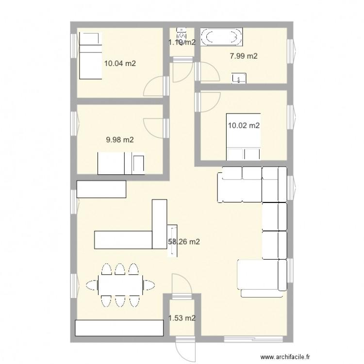 Plan maison plan 7 pi ces 99 m2 dessin par fredoline05 for Taille moyenne maison