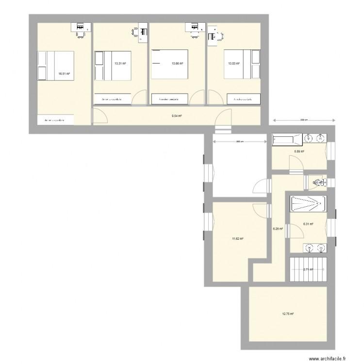 étage Maison Agrandissement Plan 12 Pièces 113 M2 Dessiné