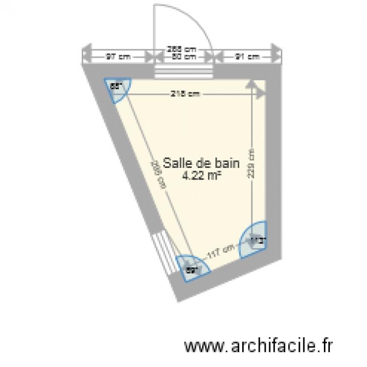 Salle de bain charrel plan 1 pi ce 4 m2 dessin par syl mor for Salle de bain 4 m2