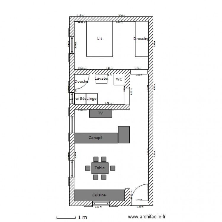 appartement t2 lucciana meubl plan 3 pi ces 36 m2. Black Bedroom Furniture Sets. Home Design Ideas
