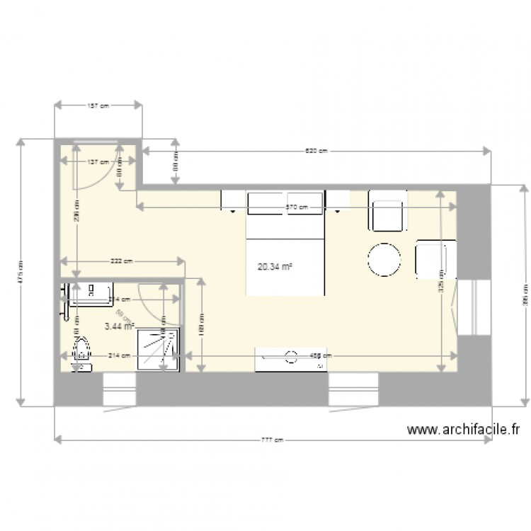 Chambre bleue v2 plan 2 pi ces 24 m2 dessin par ulysse93 for Taille moyenne chambre