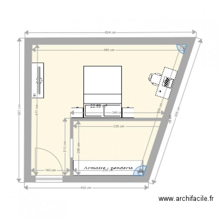 Chambre kezia plan 1 pi ce 23 m2 dessin par mondinense for Chambre one piece