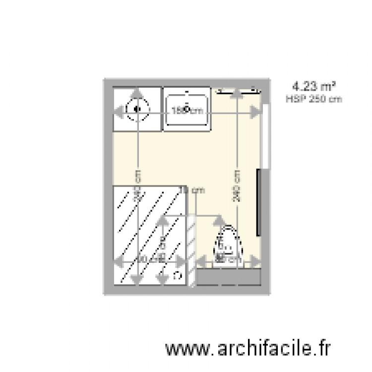 Salle de bain plan 1 pi ce 4 m2 dessin par cuisinesjr for Salle de bain 4 m2