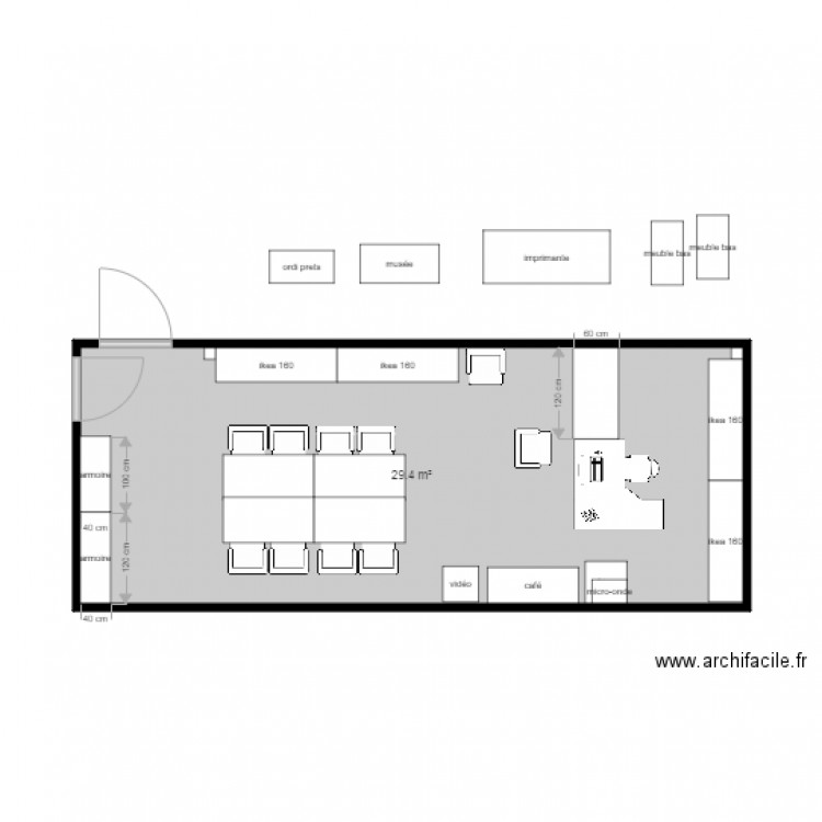 Bureau arebis plan 1 pi ce 29 m2 dessin par kerco for Nombre de m2 par personne bureau