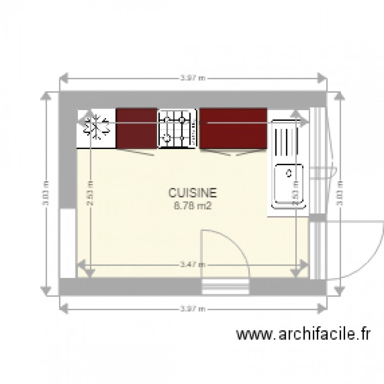 cuisine plan 1 pi ce 9 m2 dessin par michel. Black Bedroom Furniture Sets. Home Design Ideas