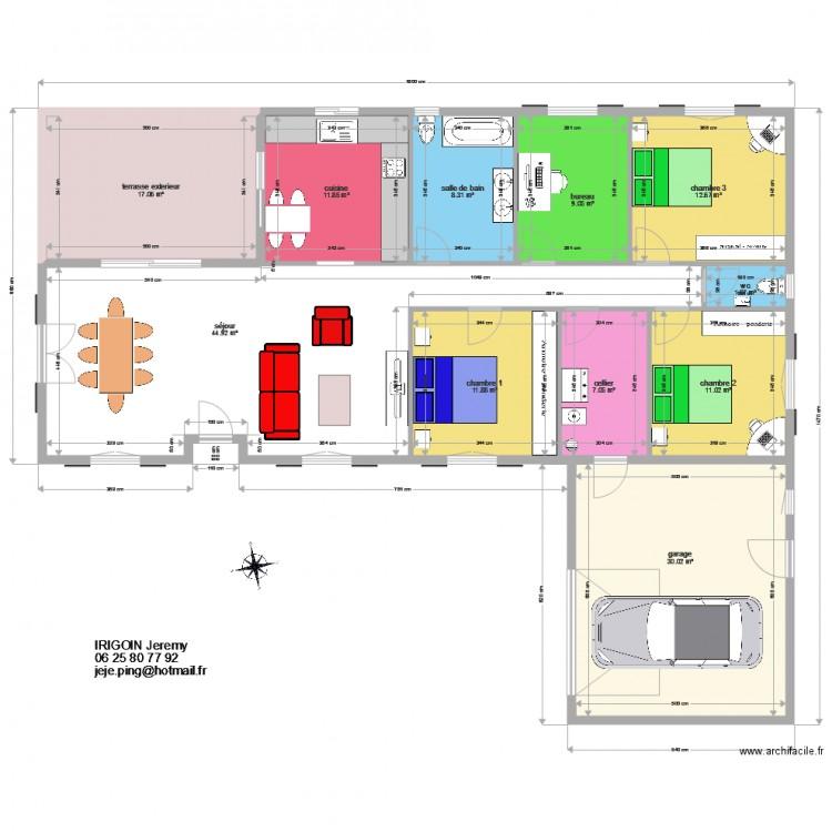 Maison elizaberri plan 11 pi ces 166 m2 dessin par irigoin64 - Consommation electrique moyenne maison 140 m2 ...