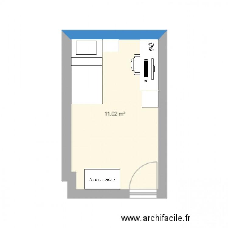 Chambre plan 1 pi ce 11 m2 dessin par balibaloo for Chambre one piece
