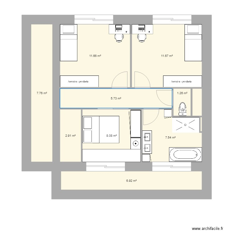 Ma Maison Cubique Etage Plan 11 Pieces 64 M2 Dessine Par Trach59