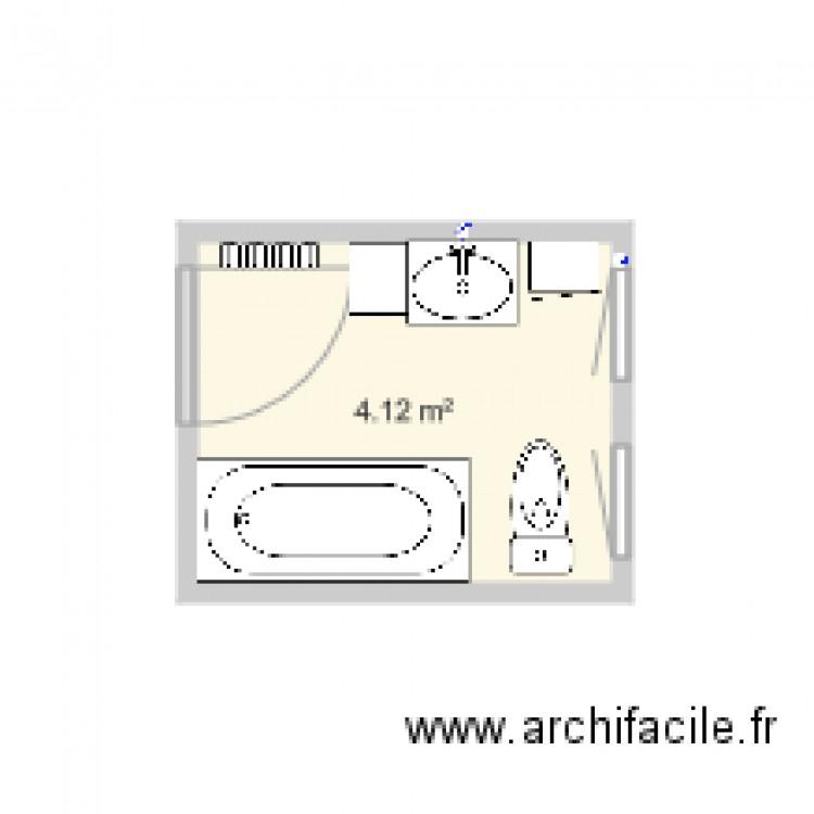 Salle de bain plan 1 pi ce 4 m2 dessin par cdelavo for Salle de bain 4 m2