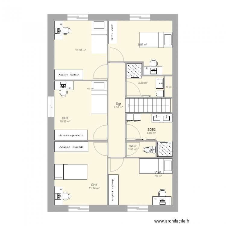 Smh study test 4 plan 20 pi ces 164 m2 dessin par gio81 for Cabine douche study