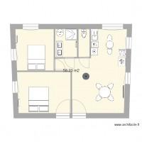 Plan maison et appartement de 56 60 m2 for Plan maison 60m2