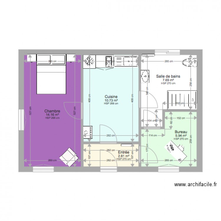 Bureau chambre plan 5 pi ces 41 m2 dessin par tlt46 for Nombre de m2 par personne bureau