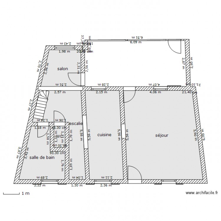 maison rdc avec veranda plan 6 pi ces 59 m2 dessin par grobaf. Black Bedroom Furniture Sets. Home Design Ideas