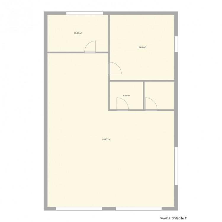 Bureau plan 4 pi ces 139 m2 dessin par fresco for Bureau petite taille