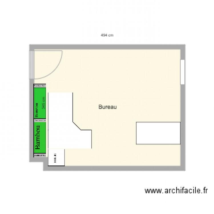 Bureau plan 1 pi ce 17 m2 dessin par aegertea for Nombre de m2 par personne bureau