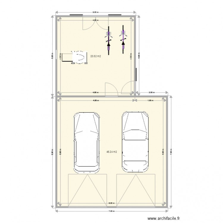 garage voiture calque 2 plan 2 pi ces 70 m2 dessin par matthieu03. Black Bedroom Furniture Sets. Home Design Ideas