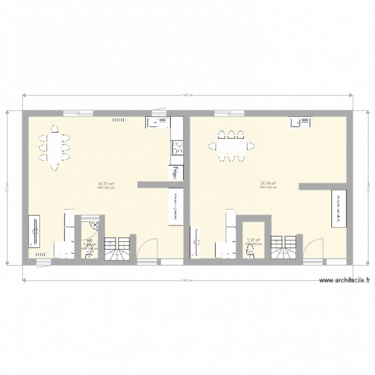Rdc Maison Jumelee Plan 4 Pieces 66 M2 Dessine Par Manueaudrey