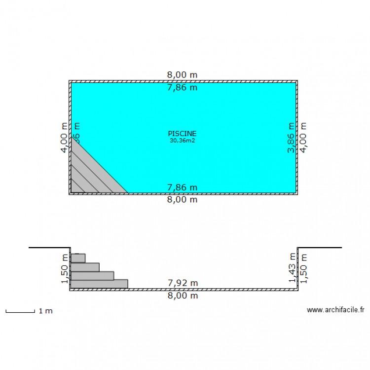 Plan de masse piscine non couverte plan 1 pi ce 30 m2 for Construire une piscine couverte