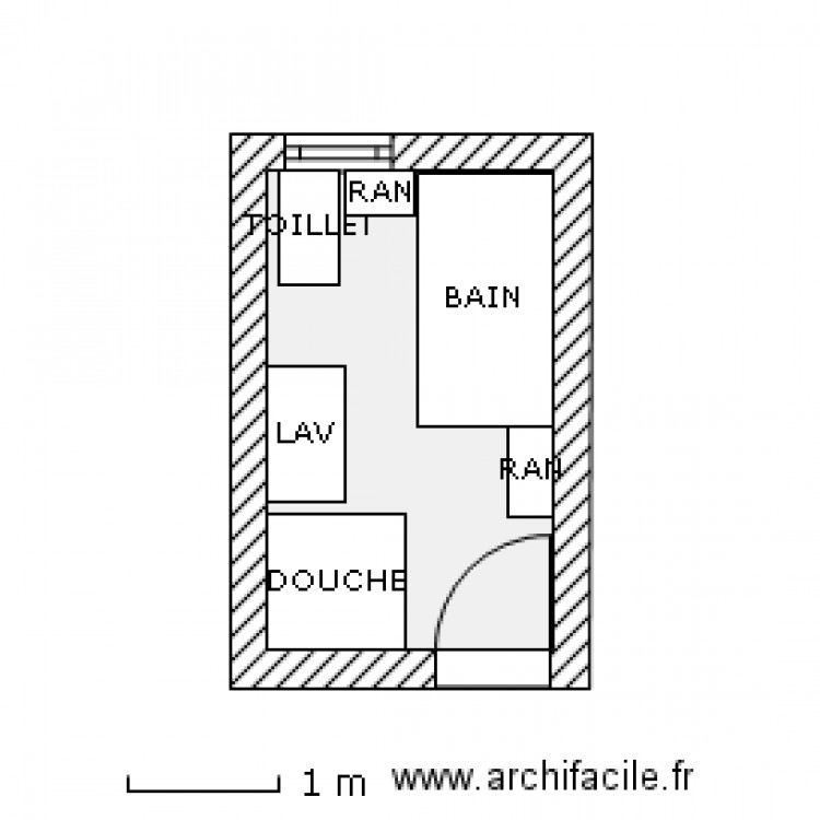 salle de bain 7 x 11 2 plan 1 pi ce 6 m2 dessin par fontaine2121. Black Bedroom Furniture Sets. Home Design Ideas